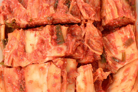 redish: closeup of cutted Gimchi, Korean traditional food. Stock Photo