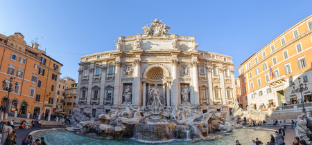 ROME, ITALY - JANUARY 21, 2010: Trevi fountain, Fontana di Trevi in Italian, is a fountain in Rome, Italy. It is famous in the world and the largest Baroque style fountain in the Rome.