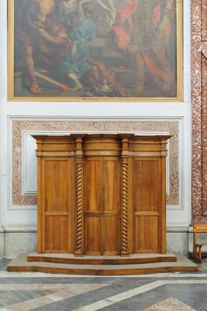 martiri: ROME, ITALY - JANUARY 22, 2010: Wooden Confessional at the Santa Maria degli Angeli e dei Martiri. Editorial
