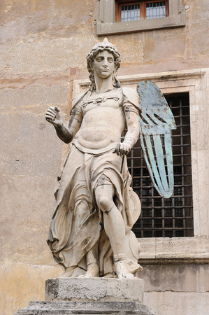 saint michael: ROME, ITALY - JANUARY 27, 2010: The original archangel of Saint Michael situated in the Castel SantAngelo in Rome, Italy. It was sculpted by Raffaello da Montelupo. Editorial