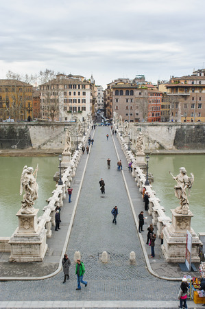 pons: ROME, ITALY - JANUARY 27, 2010: Aelian Bridge(Ponte SantAngelo or Pons Aelius in Italian) is a Roman bridge over the tiber in Rome, Italy. There are statues of Angel on the bridge.