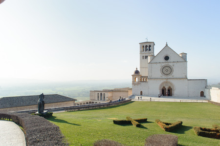 order in: Papal Basilica of St. Francis of Assisi, Basilica of San Francesco dAssisi in Italian, is the mother church of the franciscan order in Assisi, Italy. Stock Photo