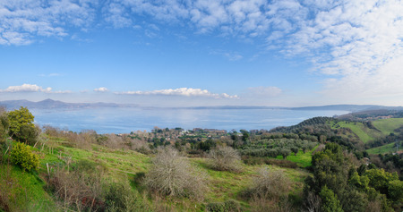 lazio: Whole view of Lake of bracciano. The lake is a volcanic origin crater lake and the second largest lake in Lazio, Italy.