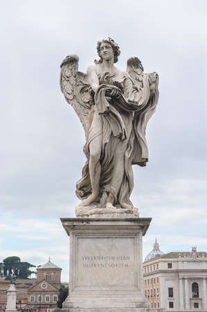 pons: Angel with the Garment and Dice is a statue on the Ponte SantAngelo in Rome, Italy. Ponte SantAngelo is a bridge in front of the Castel SantAngelo.