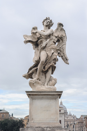 pons: Angel with the Superscription is a statue on the Ponte SantAngelo in Rome, Italy. Ponte SantAngelo is a bridge in front of the Castel SantAngelo.