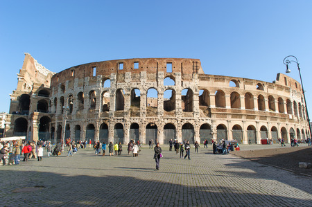 ROME, ITALY - JANUARY 21, 2010: Colosseum(Colosseo) is the largest amphitheatre in the world.  It is locasted in the centre of Rome, Italy. It has an underground structure called hypogeum.
