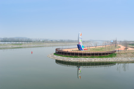 incheon: GIMPO, KOREA - APRIL 24, 2012: Gyeongin Ara Waterway is a canal between Gimpo and Incheon in Korea.