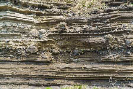 sedimentary: Sedimentary Rock (Pyroclastic deposit) at Suwolbong, UNESCO Global Geopark, in jeju Island, Korea. Stock Photo