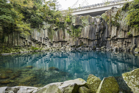 Cheonjeyeon No. 1 cascade. Cheonjeyoen falls (means the pond of God) consists of 3 falls. A variety of plant life, inclued Psilotum nudun, thrives around the falls. It is one of the most famous cascade in Jeju Island, in Korea. in first cascade, cliff is  photo