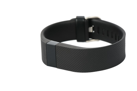 Gimpo-si, Korea - August 13, 2015: Fitbit Charge HR is the new sport fitness tracker that can allow to track your daily activity, calories burned, sleep and weight. And It provides a online and mobile dashboard to check the progress 에디토리얼