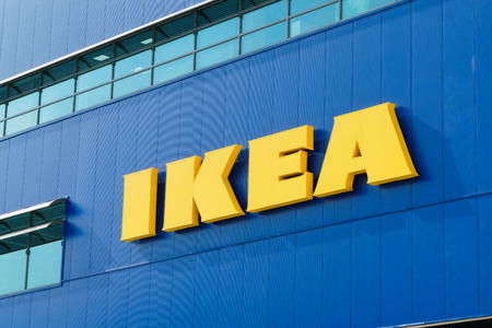 home related: Gwangmyeong, Korea - September 14, 2015: IKEA logo from Gwangmyeong in Korea. IKEA is a multinational company that designs and sells furniture, appliances and other home related items. Gwangmyeong sotre is the worlds largest IKEA store. Editorial