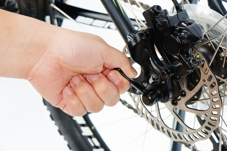 lever: releasing Quick Release lever of mountain bike, isolated on whtie