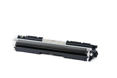 office supply: Black color Laser printer toner cartridge, isolated on white