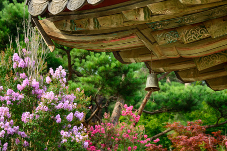 wind chime: wind chime (called Punggyeong in Korean) under the eaves in a buddhist temple in Korea.