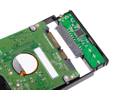 external hard disk drive: install 2.5 inch  Hard disk drive to external enclosure case, isolated on white. Stock Photo