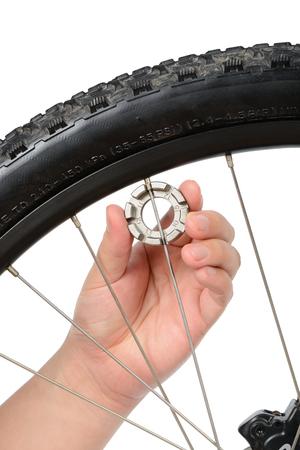 spoke: wheel truing by adjusting mountain bike (MTB) spoke, isolated on white. Stock Photo
