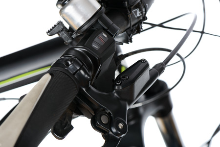 mineral oil: one-touch gear shift and hydraulic brake group (mineral oil tank and brake lever) in mountain bike (MTB), isolated on white.