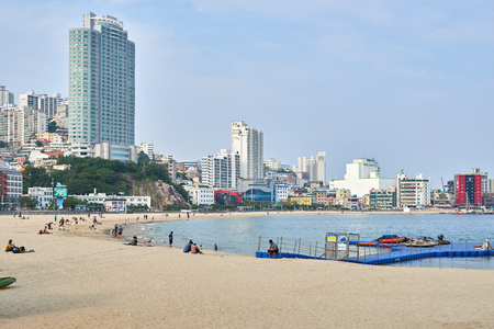 subsequent: Busan, Korea - September 20, 2015: Songdo beach is one of the most popular beach in busan in the 1960s for its graceful coastlines, but it was damaged by frequent hurricanes and subsequent sand loss. Starting in 2000, the beach underwent a 5-year reconstr Editorial