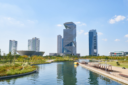 Songdo, Korea - September 07, 2015: Songdo International Business District (Songdo IBD) is a new smart city built in Incheon, South Korea. SIBD is connected to Incheon International Airport by highway bridge and it is a part of the Incheon Free Economic Z