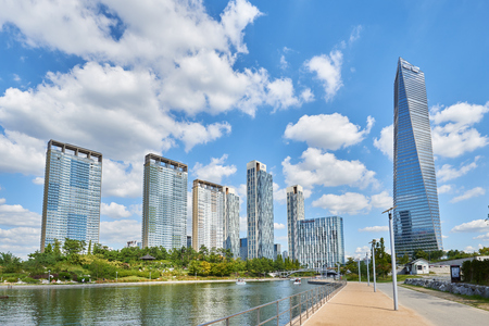 incheon: Songdo, Korea - September 07, 2015: Songdo International Business District (Songdo IBD) is a new smart city built in Incheon, South Korea. SIBD is connected to Incheon International Airport by highway bridge and it is a part of the Incheon Free Economic Z
