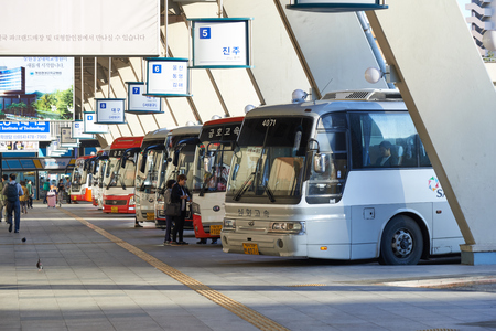 Seoul, Korea - September 18, 2015: View of Seoul Express Bus Terminal in a morning. Seoul Express Bus Terminal is the main bus terminal located in Seocho-gu and it operates routes to the cities near the Gyeongbu line. 에디토리얼