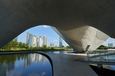 ubiquitous: Songdo, Korea - September 07, 2015: Tri-Bowl is a multi-purpose, integrated cultural arts space and It include an arena shaped performance space, education about culture and art as well as exhibits. The building is commissioned by the City of Incheon and