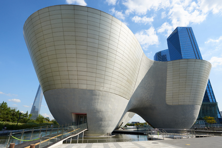 commissioned: Songdo, Korea - September 07, 2015: Tri-Bowl is a multi-purpose, integrated cultural arts space and It include an arena shaped performance space, education about culture and art as well as exhibits. The building is commissioned by the City of Incheon and