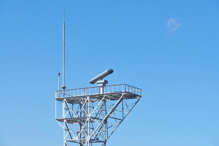 steel tower: radar equipment on a steel tower with lightning rod
