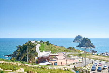 Landscape of Oryukdo park in Busan, Korea. Oryukdo means five-six island and the islands appear to be five or six islands depending on the day and the tide.