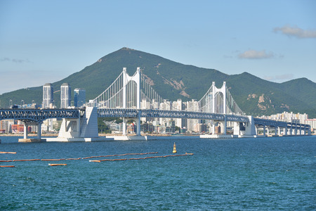 turnpike: Gwangandaegyo. It is a big suspension bridge and a landmark located in Busan, Korea. The bridge connects Haeundae district and Suyeong district.