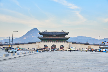 Seoul, Korea - December 9, 2015: Gwanghwamun Gate. It is the main gate of Gyeongbokgung palace. it is also a landmark and symbol of Seoul's long history as the capital of Joseon dynasty. 에디토리얼