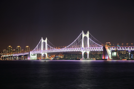 schlagbaum: Busan, Korea - January 21, 2016: Gwangandaegyo. It is a big suspension bridge and a landmark located in Busan, Korea. The bridge connects Haeundae district and Suyeong district.