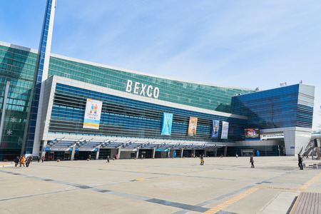 Busan, Korea - January 22, 2016: BEXCO. It is a convention and exhibition center located in Haeundae-gu. Events in BEXCO include 2003 ICCA Annual Conference, 2004 ITU Asia, and 2005 APEC Summit. Imagens - 54988618