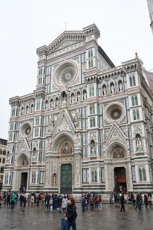 firenze: Florence, Italy - Febuary 17, 2016: Florence Cathedral (Cattedrale di Santa Maria del Fiore), the main church of Firenze, built in the italian Gothic style between 1296 and 1436.