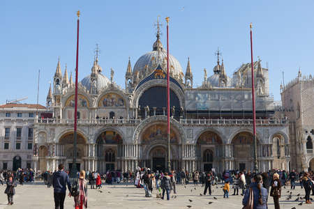 cattedrale: Venice, Italy - Febuary 19, 2016: St Marks Basilica (Basilica Cattedrale Patriarcale di San Marco), a Roman Catholic Archdiocese of Venice. It is one of the examples of Italo-Byzantine architecture.