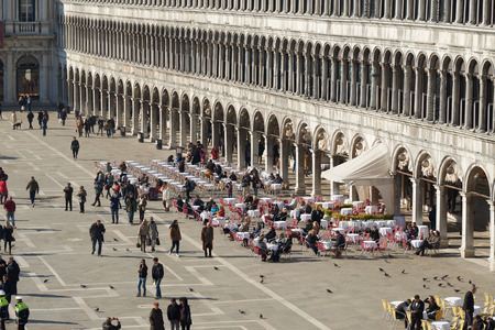 procuratie: Venice, Italy - Febuary 19, 2016: Piazza San Marco in Venice. Venice is famous for its settings, archtecture and artwork. A part of Venice is resignated as a World Heritage site.