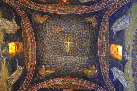 Ravenna, Italy - Febuary 18, 2016: Interior of Mausoleum of Galla Placidia, a Roman chapel embellished with colorful Roman mosaics in Ravenna. It was resignated as Unesco World Heritage. 에디토리얼
