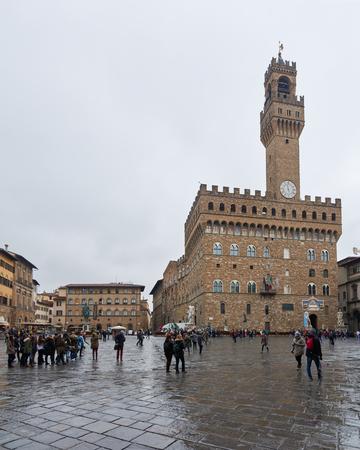 signoria square: Florence, Italy - Febuary 17, 2016: Piazza della Signoria, a square in front of the Palazzo Vecchio in Firenze, Italy. It is located between Ponte Vecchio and Piazza del Duomo.