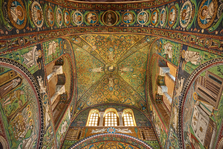 ravenna: Ravenna, Italy - Febuary 18, 2016: Interior of Basilica of San Vitale, which has important examples of early Christian Byzantine art and architecture. It was resignated as Unesco World Heritage. Editorial