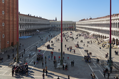 vecchie: Venice, Italy - Febuary 19, 2016: Piazza San Marco in Venice. Venice is famous for its settings, archtecture and artwork. A part of Venice is resignated as a World Heritage site.