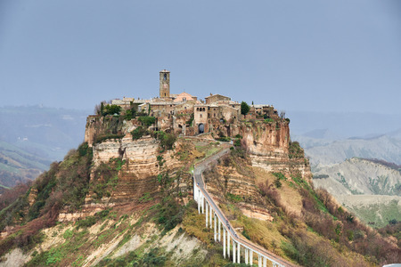 viterbo: Civita di Bagnoregio, it is a small town in the Province of Viterbo in Italy. The town is famous for its position atop a plateau of friable volcanic tuff overlooking the Tiber river vally.