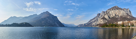 Landscape of Lecco. It is the capital of the province of Lecco and lies at the end of the south-eastern branch of Lake Como.