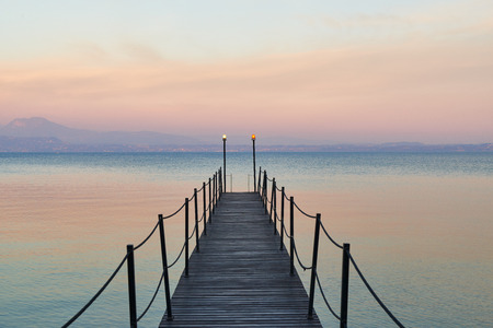 Landscape of Lake Garda, View from Sirmione in Lombardy, Italy. Stock Photo