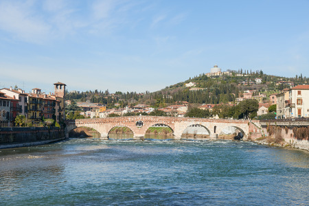 Ponte Pietra, a Roman arch bridge crossing the Adige River. The bridge was Completed in 100 B.C and it is the oldest bridge in Verona.