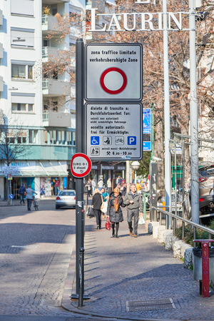 excessive: Bolzano, Italy - February 22, 2016: Zona Traffico Limitato (ZTL) Signboard, which is a restricted traffic area for protecting historic city centres from excessive traffic in Italy.