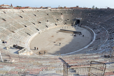 1st century: Verona, Italy - Febuary 20, 2016: Verona Arena, a Roman amphitheatre in Piazza Bra, built in 1st century. It is still in use today and internationally famous for the opera performances given there.