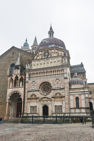 cappella: Bergamo, Italy - February 23, 2016: facade of Basilica di Santa Maria Maggiore. The church is Romanesque architecture with a gilded interior hung with tapestries, built in 1137.