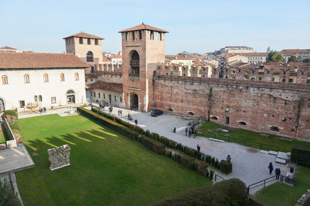 eponymous: Verona, Italy - Febuary 20, 2016: Castelvecchio Museum, a museum located in the eponymous medieval castle. The museum displays a collection of sculpture, statues, ancient weapons and others. Editorial