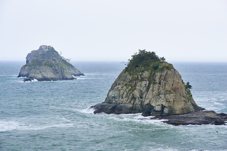mare agitato: Oryukdo islands, which is famous islands for its mysterious optical illusion in Busan, Korea. The name means five-six island