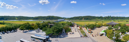 Paju, Korea - September 13, 2016: Landscape of Imjin river, view from Observation building in Imjingak park. The park has many statues and mouments regarding the Korean War.